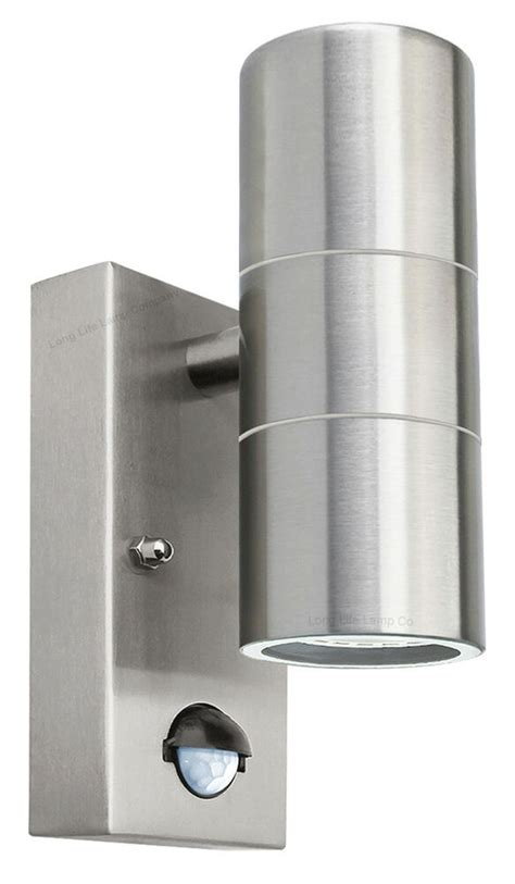 pir stainless steel double outdoor wall light with