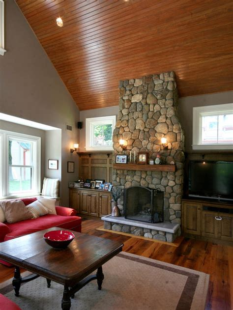 river rock fireplace design ideas remodel pictures