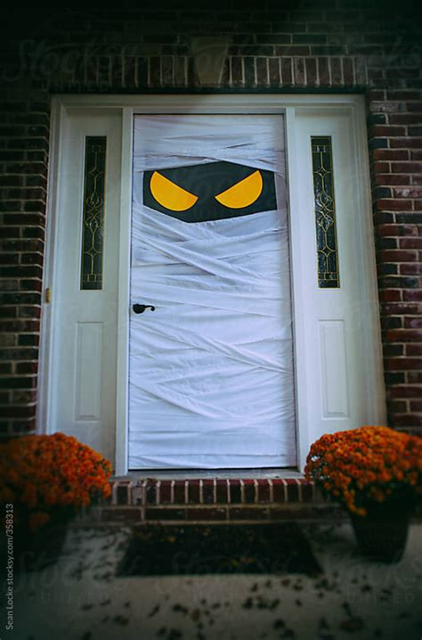 spooky halloween door dressed  mummy  sean locke