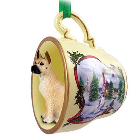 great dane dog christmas holiday teacup sleigh ornament