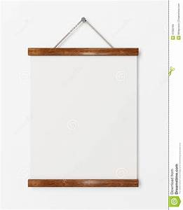 mock up blank poster with wooden frame hanging on the With template for hanging pictures