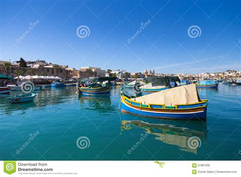 Boat Dealers Malta by Marsaxlokk Market With Traditional Colorful Fishing Boats