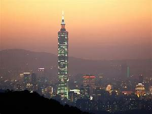 Taipei, 101, With, Lights, At, Dusk, In, Taiwan, Image