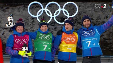 jo  biathlon relais mixte la ceremonie des