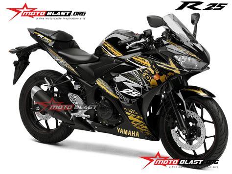 special edition modif striping yamaha r25 black gold motoblast