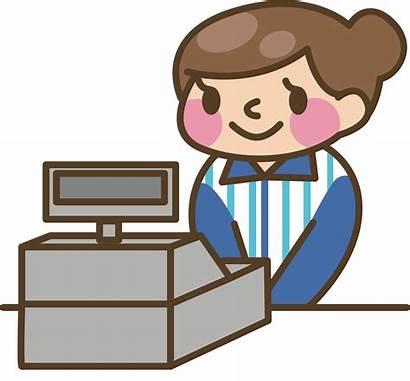 Clipart Cash Register Cashier Transparent Woman Cashiers