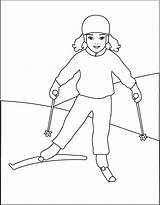 Coloring Pages Skiing Little Ski Print Template Winter Christmas Colouring Mix Jet Drawing Coloriage Country Cross Popular Disney Olympics Templates sketch template