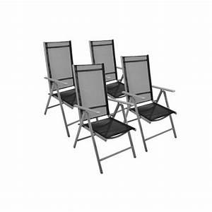 Fauteuil De Jardin Pliant : 4 fauteuil pliant noir r glable en alu textilene achat ~ Dailycaller-alerts.com Idées de Décoration