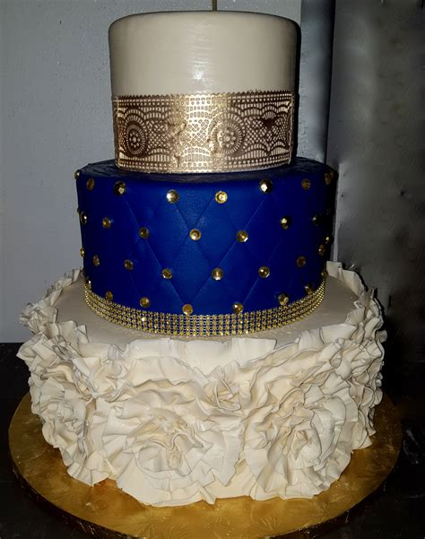 calumet bakery royal blue  gold wedding cakes