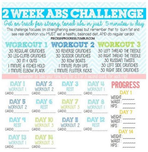 workout challenge week ab abs plan exercise plans fitness weekly
