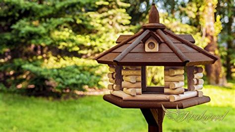 wooden bird table house feeder  krakwood bird tables