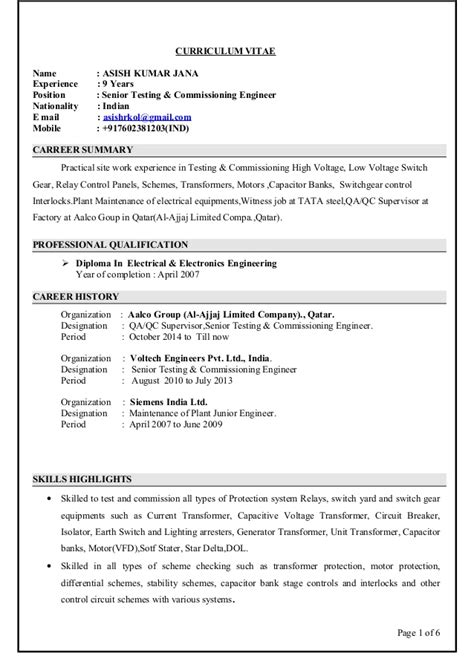 asish cv electrical engineer testing  commissioning