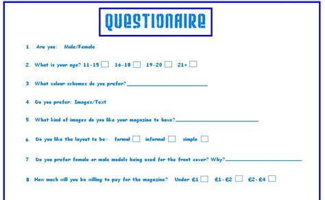 reena s media questionnaire primary research