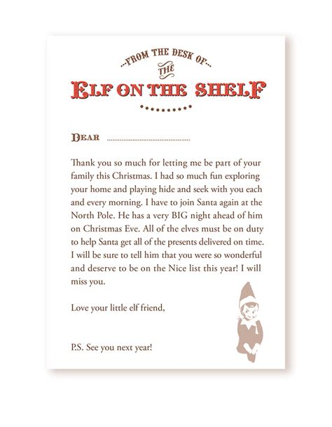goodbye letter  elf   shelf levelings