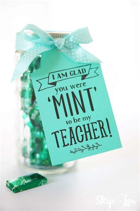 mint    teacher printable gift tag