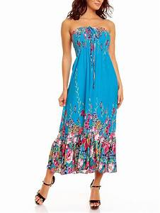 ladies floral rose print bandeau summer beach holiday midi With daytime summer dresses