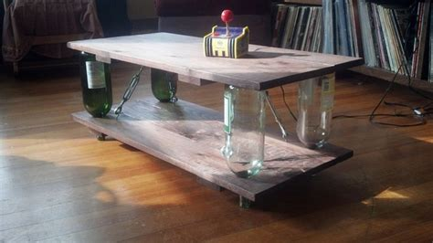New faceted block coffee tables made from salvaged cedar. Ten Green Coffee Table - from reclaimed timber and glass bottles | Your Projects@OBN