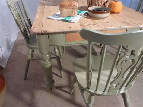Victorian Pine Farmhouse Table and 4 Chairs Painted