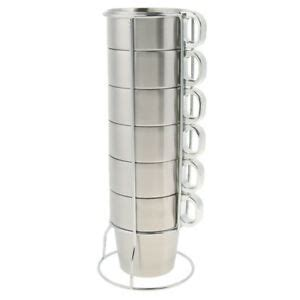 pcs stainless steel stacking mugs coffee cups  rack camping picnic bbq ebay