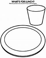 Coloring Pages Plate Lunch Colouring Dinner Drawing Healthy Crayola Glass Eating Eat Sheets Drink Draw Crafts Fill Crayons Lunches Whats sketch template