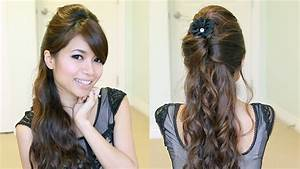 Elegant Prom Half Updo Hairstyle Curly Hair Tutorial Bebexo YouTube