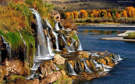 Landscape Fallwaterfall Rocks Trees Hd Wallpaper 97637
