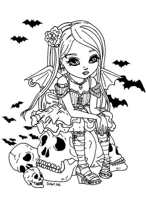 Jolie fille Vampire - Halloween - Coloriages difficiles