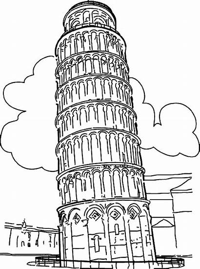 Pisa Tower Leaning Drawing Coloring Drawings Pages