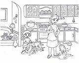 Coloring Kitchen Pages Clean Cooking Printable Dangers Worksheet Cleans Mother Cookbook Coloringpagesfortoddlers sketch template