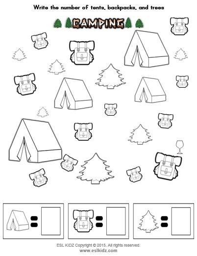 camping activities games  worksheets  kids
