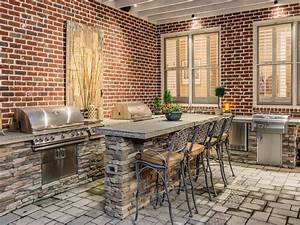 Contemporary Patio with Red Brick Walls | HGTV