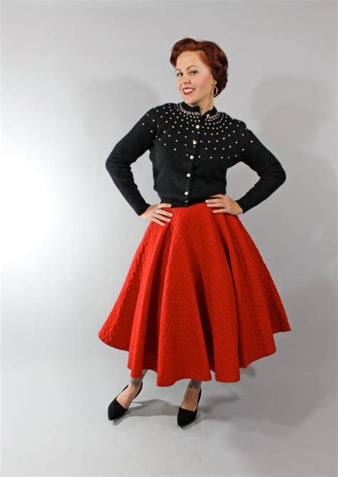 1950s Vintage Skirt Winter Fashion Bright Red by