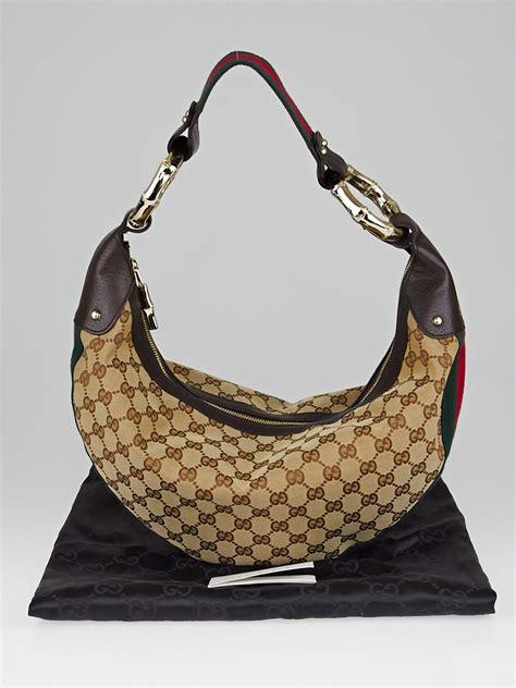 gucci beigeebony gg canvas vintage web bamboo hobo bag yoogis closet