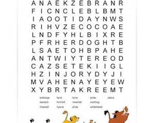 Disney Lion King Word Search Worksheets
