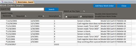 Work Order Database Template Costumepartyrun - Microsoft access work order template