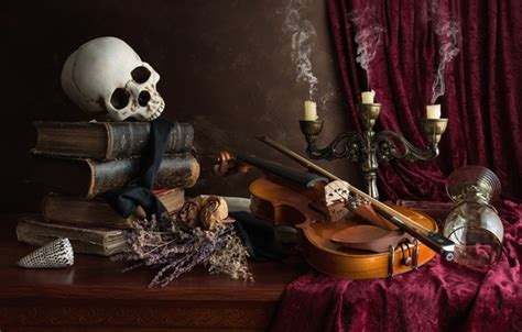 wallpaper violin glass books skull candles  life