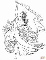 Coloring Spanish Flamenco Dancing Woman Printable Dancer Colorear Dibujos Spain Don Colorir Espanola Desenhos Dibujo Coloriage Worksheets Bailando Supercoloring Baile sketch template