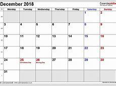 Calendar December 2018 With Holidays rudycobynet