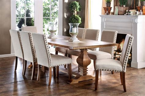 macapa cmt formal dining table  oak finish woptions