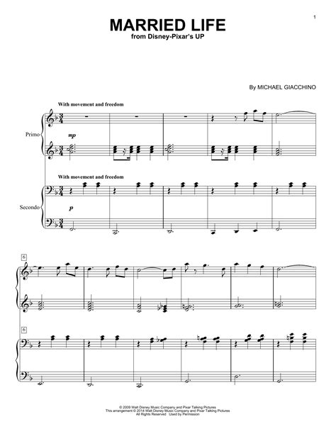 You can print the sheet music, beautifully rendered by sibelius, up to three times. Married Life (from Up) Sheet Music | Michael Giacchino | Piano Duet
