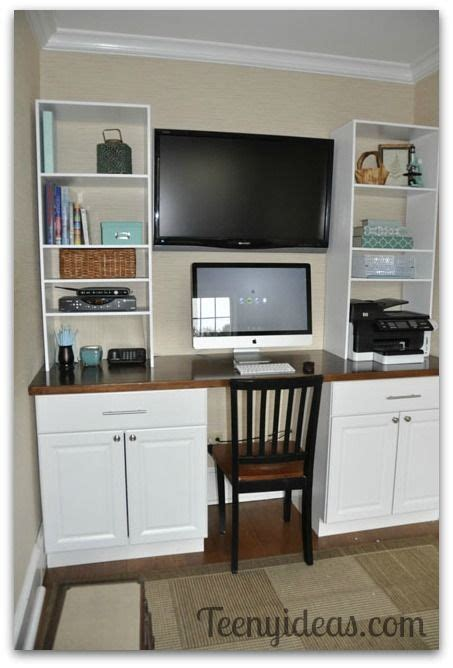 Kitchen Base Cabinet For Desk by Diy Office Built Ins Using Stock Kitchen Cabinets And