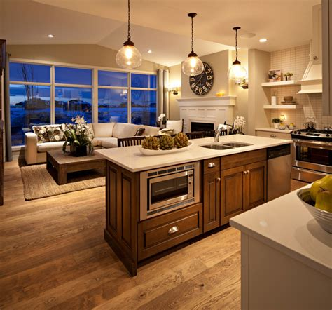 harmonious great kitchen layouts the hawthorne kitchen great room at dusk traditional