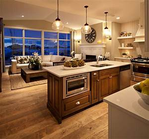 the hawthorne kitchen great room at dusk traditional With kitchen and great room designs