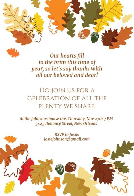 sharing  plenty thanksgiving invitation template