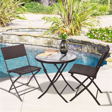 goplus patio furniture folding 3pc table chair set bistro
