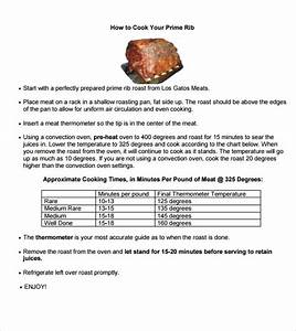 Free 5  Sample Prime Rib Temperature Chart Templates In Pdf
