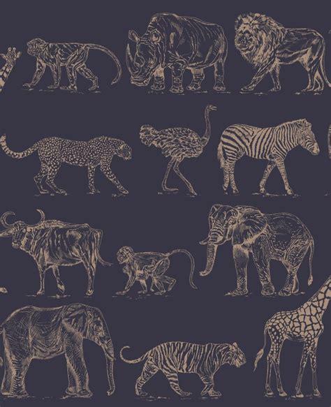 Animal Print Wallpaper Uk - safari navy animal print wallpaper 104893 wallpaper sales