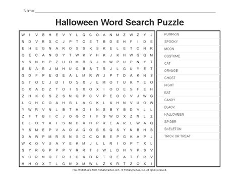 halloween worksheets halloween word search puzzle