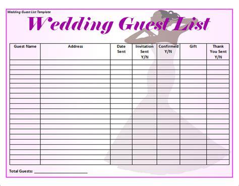 sample wedding guest list template   documents