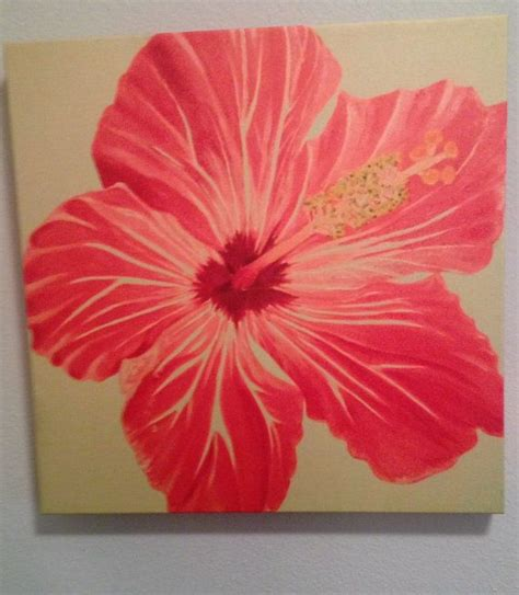Flower Painting On Canvas Hot Pink Tropical Hibiscus